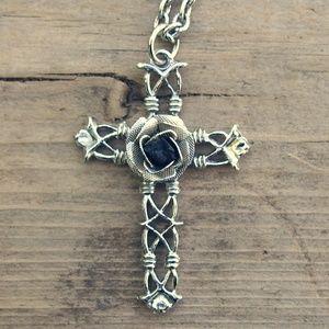 Goth Ornate Cross Black Rose
